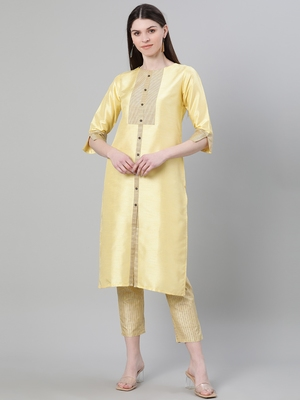 Yellow plain art silk kurtas-and-kurtis