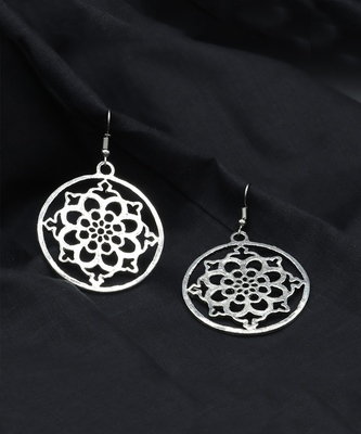 Silver Plated Round Shaped Earrings