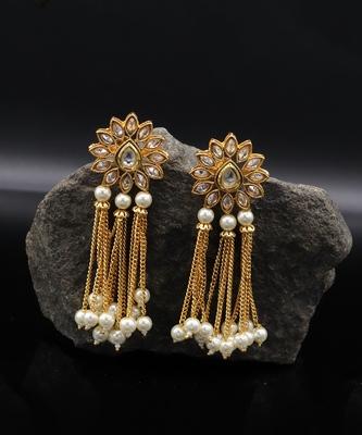 Gold Plated Kundan Designer Danglers Earrings