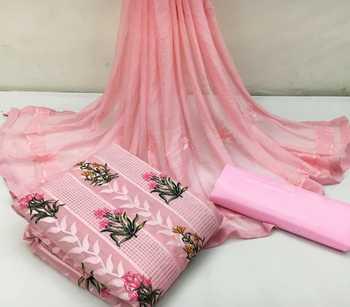 Pink embroidered chanderi salwar