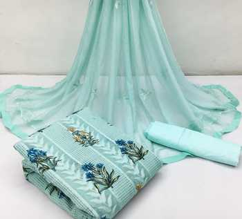 Sky-blue embroidered chanderi salwar