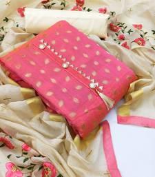Pink woven chanderi salwar