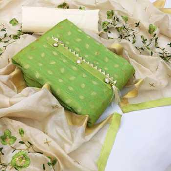 Green woven chanderi salwar
