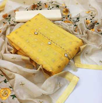 Yellow woven chanderi salwar