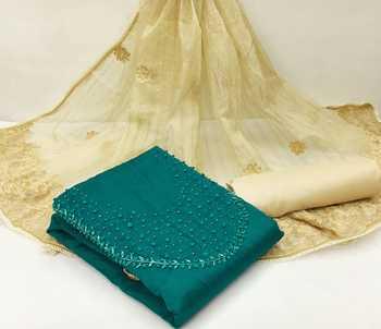 Dark-green embroidered chanderi salwar