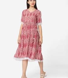 Shaily Retails Pink Colour Flared Dress