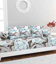 Diwan Set with 3 Cushion Covers and 2 Bolster Covers, Grey