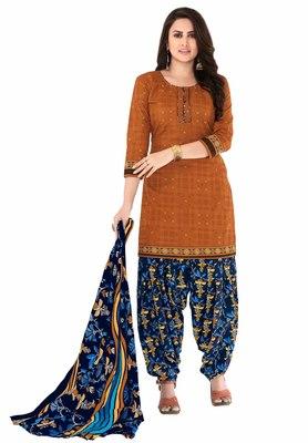 Brown & Dark Blue Cotton Printed Readymade Patiyala Suit Set