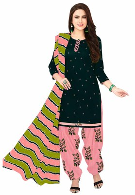 Bottle Green & Pink Cotton Printed Readymade Patiyala Suit Set