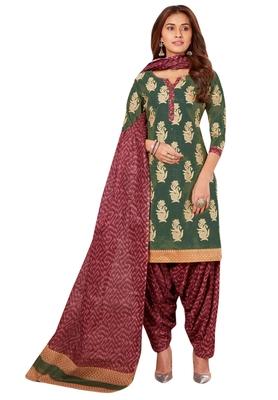 Mehendi Green & Burgundy Cotton Printed Readymade Patiyala Suit Set