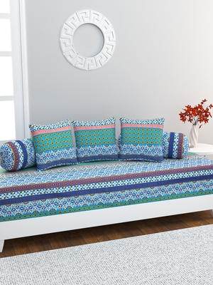 Diwan Set with 3 Cushion Covers and 2 Bolster Covers, Blue