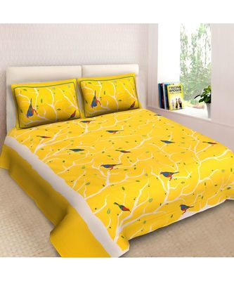RIDAN COTTON PRINTED MULTICOLOURED DOUBLE BED SHEET WITH PILLOW COVER