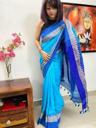 Blue Cotton Bengal Handloom Saree