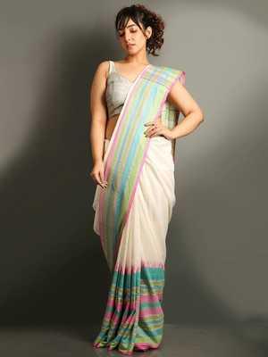 White Cotton Bengal Handloom Saree