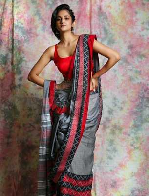 Grey Cotton Bengal Handloom Saree
