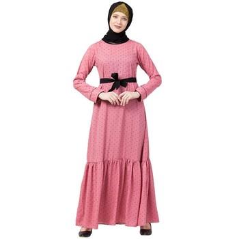 Polka dotted frilled abaya- Puce Pink