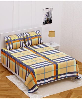 RIDAN COTTON  BLEND KING SIZE  MULTICOLOURED PRINTED DOUBLE BED SHEET WITH PILLOW COVER