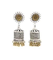 Silver Golden Finish Designer Oxidized Jhumki Earrings Antique Jewellery for Women and Girls