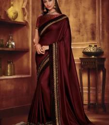 Vanya Zari Embroidered Maroon Silk Saree With Maroon Embroidered Blouse Designer Saree