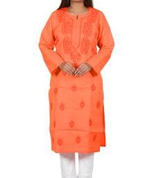 Lavangi Women's Lucknow Chikan Handicraft Ghaaspatti Work Khadi Cotton Kurti (Orange)