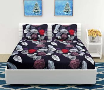 Nirwana Decor Elastic Fitted bedsheets King Size , Fitted bedsheets King Size with Elastic with 2 Pillow Covers