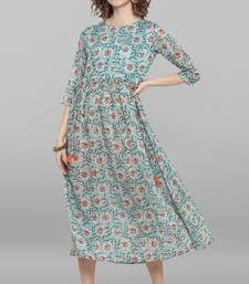 Sea-green printed cotton party-wear-kurtis