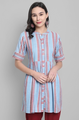 Blue printed cotton tunics