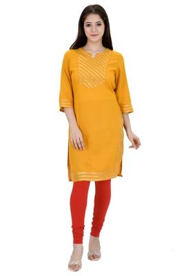 Mustard plain rayon ethnic-kurtis