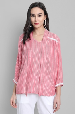 Pink woven viscose rayon party-tops