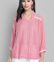 Pink woven viscose rayon party-tops