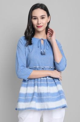 Blue woven cotton cotton-tops
