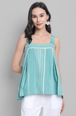 Green woven cotton cotton-tops