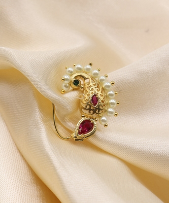 Maharashtrian Traditional Peacock Nath Nose Ring for Women & Girls