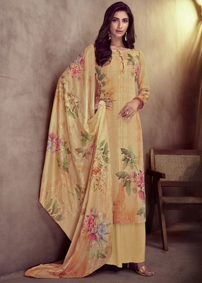 yellow viscose  wedding-salwar-kameez Palazzo party-wear-salwar-kameez