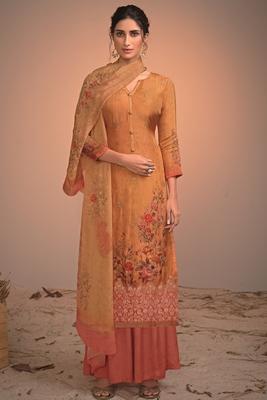 yellow silk  wedding-salwar-kameez Palazzo party-wear-salwar-kameez