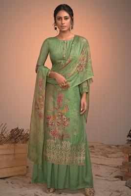 green silk  wedding-salwar-kameez Palazzo party-wear-salwar-kameez