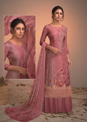 pink silk  wedding-salwar-kameez Palazzo party-wear-salwar-kameez