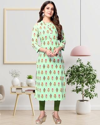 Light-green printed cotton ethnic-kurtis