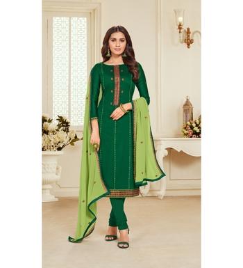 Green & Parrot Green Jam Silk Embroidered Dress Material