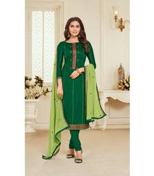Green & Parrot Green Jam Silk Embroidered Dress Material