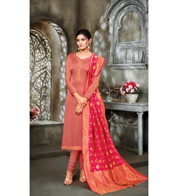 Coral & Pink Satin Georgette Embroidered Dress Material