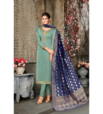 Sea Green & Blue Satin Georgette Embroidered Dress Material