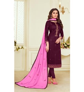 Magenta & Pink Jam Silk Embroidered Dress Material