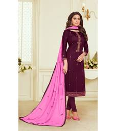 Magenta & Pink Jam Silk Embroidered Dress Material
