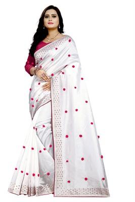 Paper Silk heavy hotfix permanent machine diamond work with pom pom pasting work in saree with Blouse