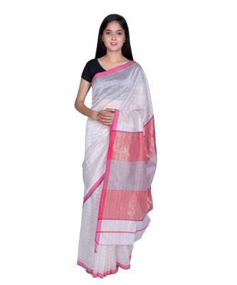 Off White Mahehswari Silk Cotton Nerrow Border Saree Contract Blouse
