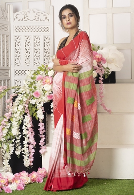 Offwhite Handloom Saree With Red Border Multicolor Motifs