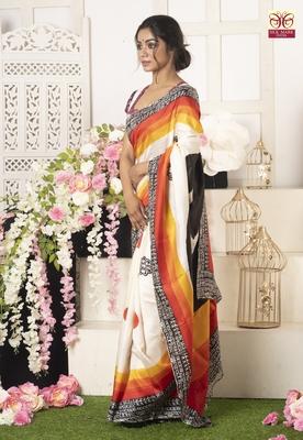 Multicolor Print On Offwhite Pure Silk Saree
