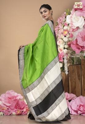 Spring Green Pure Silk Saree With White And Black Pallu