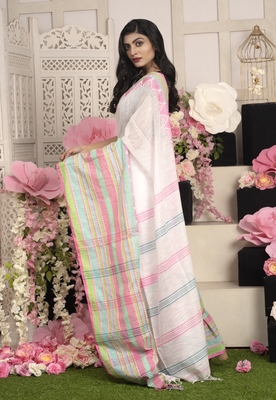 Offwhite Handloom Cotton Saree With Woven Multicolor Border
